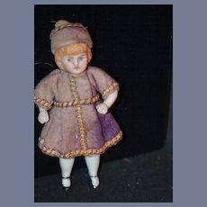 Antique Doll Miniature China Head Doll Dressed Dollhouse