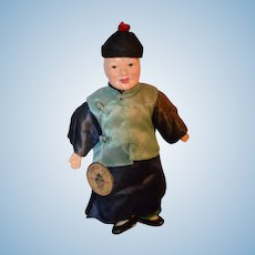 Old Doll Composition Oriental Man w/ Original
