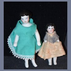 Antique Doll Pair Set Frozen Charlotte Dolls China Head