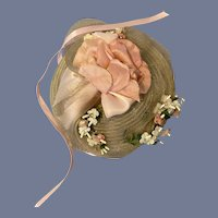 Woven Straw-Type Doll Bonnet with Pink Flower Decorations