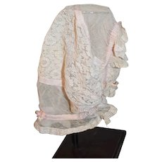 Beautiful Sheer Lace Doll Bonnet for Large Doll