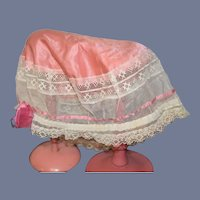 X-Large Pink Cloth and Lace Detail Doll Bonnet