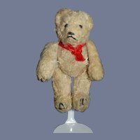 Miniature Mohair Jointed Teddy Bear with Red Velvet Ribbon