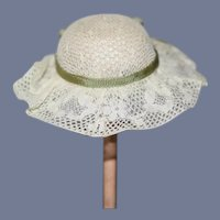 Miniature White Lace Doll Bonnet with Green Ribbon