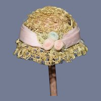 Miniature Straw Doll Bonnet with Flowers and Pink Ribbon