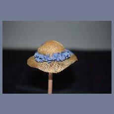 Miniature Straw and Blue Ribbon Doll Hat