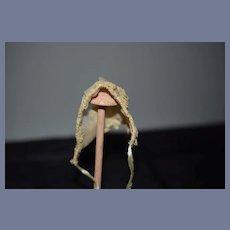 Miniature Cloth Doll Bonnet with Lace Trim