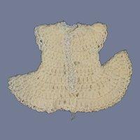Miniature White and Blue Crochet Sweater Doll Dress Petite
