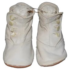 Old White Leather Doll Shoes Boots Button Up