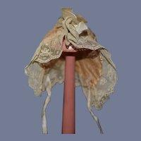 Antique Beige Cloth Doll Bonnet with Lace Details