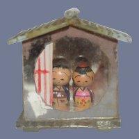 "Dollhouse sized Miniature Kokeshi Dolls in Glass Dollhouse 1 & 3/4"" tall"