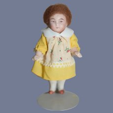 Miniature Bisque Doll in Mohair Wig