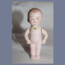 Unusual Miniature All Bisque 753 Germany 7 1/2 Marked Doll wearing Bracelet and Necklace