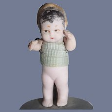 Miniature Hertwig Fat Belly All Bisque Painted Baby with Jointed Arms
