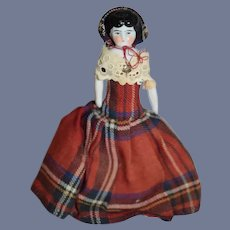 Miniature Dollhouse Cloth Body China Head in Plaid Dress