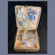 Antique Doll Miniature All Bisque Jointed W/ Trousseau Old German Basket
