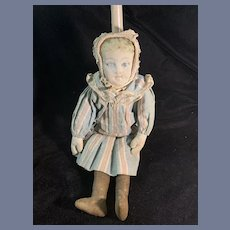 Sweet Old Cloth Doll Printed Face Rag Doll Mask Face Charming Antique Clothes