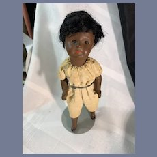 Sweet Petite Black Painted Bisque Doll W/ Glass Eyes Cabinet Size SFBJ French Doll