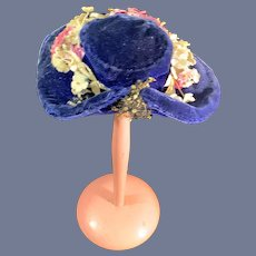 Sweet Old Doll Bonnet Velvet Hat Wreath of Flowers Tilted Top Fashion Doll Size By Juliette