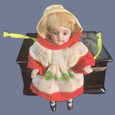 """Antique Doll All Bisque Jointed Glass Eyes Blue Socks Dollhouse  3.5"""" #191"""
