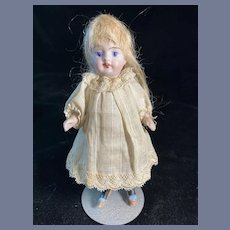 Antique Doll Sweet Miniature All Bisque Black Stockings Thigh High Dollhouse Factory Original