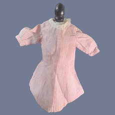 Old Doll Pink Gingham Doll Dress W/ Lace Collar