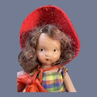 Nancy Ann Story Book Painted Bisque Doll in Plaid Dress