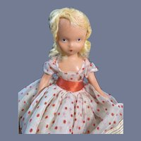 Painted All Bisque NASB Doll in Red and White Dot Dress