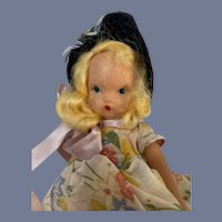 Nancy Ann Story Book Doll in Floral Print Dress with Daisies