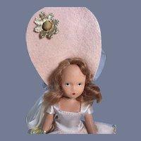Fancy Hard Plastic Nancy Ann Story Book Doll in Oversized Bonnet