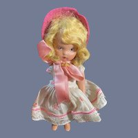 Small Nancy Ann Story Book Doll in Pink Floral Dress