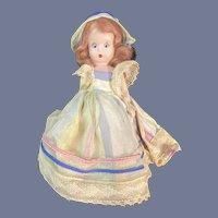 Hard Plastic NASB Doll in Striped Dress with Sleep Eyes