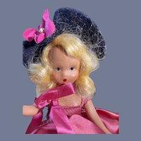 Gorgeous Hard Plastic NASB Flower Doll in Pink Dress