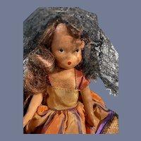 Nancy Ann Story Book Operetta Series Doll dressed in Black Lace Veil NASB