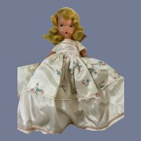 Nancy Ann Story Book Painted Bisque Doll in White Floral Dress