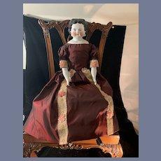 "Antique Doll China Head 21"" Tall Smiling Center Part Beautiful Doll Dress Dec 1880 Pat"