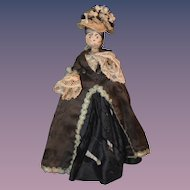 Antique Doll Wood Pegged Fancy Bun Jointed Dressed Fashion Doll