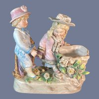 Fancy Painted Bisque Figurine Children Playing by Well