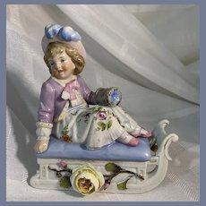Painted Porcelain Girl on Sleigh Trinket Box