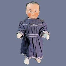 Antique Doll China Head Frozen Charlotte Pink Tint Badekinder W/ Rare Brown Eyes Large
