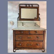 Antique All Original Bluette Doll Dresser W/ Bevelled Mirror W/ Ornate Metal Trim Dollhouse Arts and Crafts