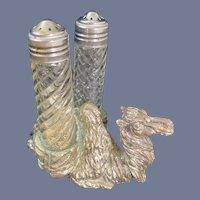 Silver Plated Figural Salt and Pepper Shaker Holder Camel
