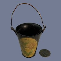 Old Wood Black Laquer Bucket Pale Basket W/ Flowers on Front Miniature Charming Fashion Doll Size
