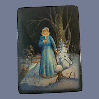 Wonderful Russian Black Lacquer Hand Painted Signed Trinket Box Hinged