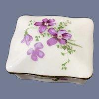 Hammersley Flower Painted Porcelain Trinket Box