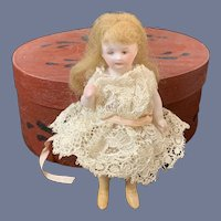 Miniature Artist Painted Bisque Girl with Mohair Wig