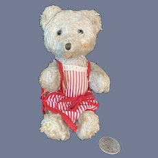 Old Jointed Teddy Bear in Red and White Striped Apron