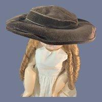 Large Brown Velvet Doll Hat
