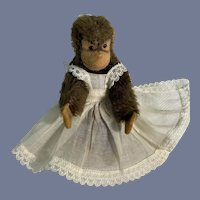 Miniature Steiff Monkey in Sheer White Apron