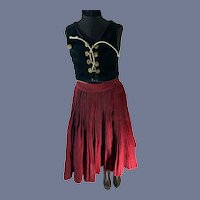 Wonderful Old Dress for Large Doll One Piece Velvet Top Pleated SKirt Costume Lace Up